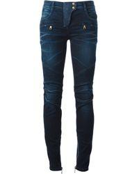 Balmain Blue Skinny Jeans - Lyst