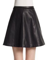 Saks Fifth Avenue Black Label Faux Leather Skater Skirt - Lyst