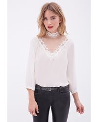 Forever 21 Lace-Paneled Blouse - Lyst