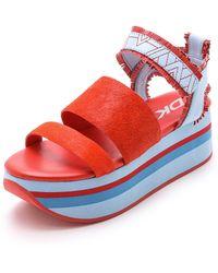 DKNY Valene Haircalf Platform Sandals - Bright Flame/Hue Blue - Red