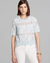 Rebecca Taylor Top Short Sleeve Patch Lace - Lyst