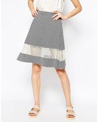 Harlyn - Striped Midi Skirt With Mesh Insert - Lyst