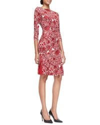 Tory Burch Ria Floral-print Boat-neck Sheath Dress - Lyst