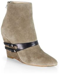 Elizabeth And James Reily Suede  Leather Wedge Ankle Boots - Lyst
