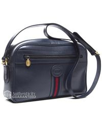 Gucci Pre-owned Navy Leather Webbed Vintage Crossbody Bag - Lyst