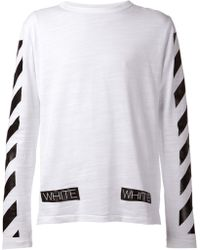 Off-White Striped Sleeve T-Shirt - Lyst