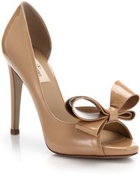 Valentino Bow Patent Leather D'Orsay Pumps brown - Lyst