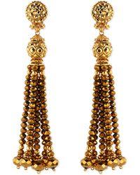 Jose & Maria Barrera | Golden Crystal Tassel Clip-on Earrings | Lyst