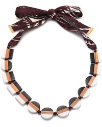 Tory Burch Colorblock Ribbon Necklace - Lyst