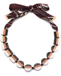 Tory Burch Colorblock Ribbon Necklace multicolor - Lyst