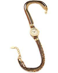 Sara Designs   Elle Wrap Watch - Olive/brown/gold   Lyst