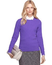 Brooks Brothers Cashmere Cable Knit Crewneck Sweater - Lyst