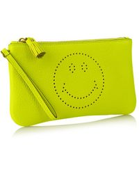Anya Hindmarch Smiley Leather Wristlet Pouch - Lyst