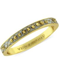 Vince Camuto - Goldtone and Leather Pyramid Stud Bangle Bracelet - Lyst
