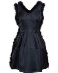 Simone Rocha Satin Dress With Feather Trim - Lyst