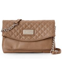 Nine West Tan Quilted Tunnel Crossbody - Lyst