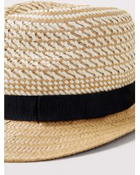 LAC Mix Weave Trilby With Woven Trim - Natural