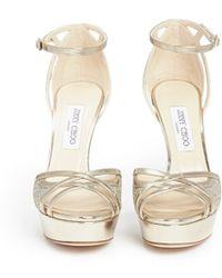 Jimmy Choo | 'laurita 115' Metallic Glitter Mesh Mirror Leather Sandals | Lyst