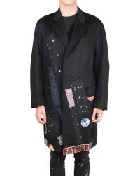 Raf Simons Cashmere Coat with Patch - Lyst