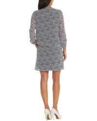 Betty & Co. Print Waisted Dress - Blue