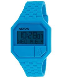 Nixon Womens Re-run Light Blue Rubber and Dial - Lyst