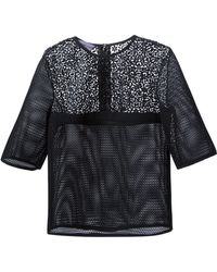 Emanuel Ungaro Perforated Lace Detail Top - Lyst