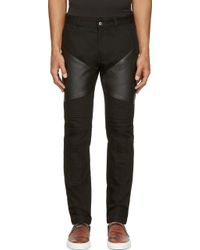 Givenchy Black Leather_Patched Biker Jeans - Lyst