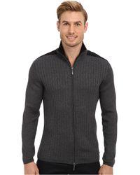DKNY Ls Rib Woven Fullzip Mock Neck Sweater - Lyst