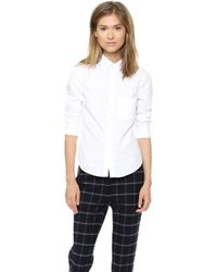 Band of Outsiders - Pique Cropped Sleeve Shirt - White - Lyst
