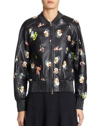 Erdem Damia Floral Leather Bomber Jacket - Lyst