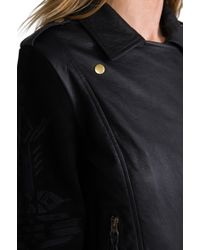 Twelfth Street Cynthia Vincent - Talitha Embroidered Suede Sleeve Moto Jacket in Black - Lyst