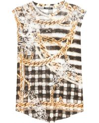 Balmain Printed Linenjersey Tshirt - Lyst