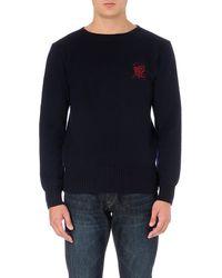 Ralph Lauren Crest-embroidered Knitted Jumper - Lyst