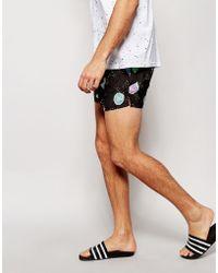 ASOS Woven Shorts With Fruit Print - Black