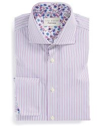 Ted Baker 'Takeley' Trim Fit Stripe French Cuff Dress Shirt - Lyst
