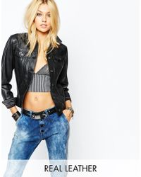 Replay - Real Leather Fitted Jacket - Lyst