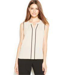 Calvin Klein Sleeveless Contrast-trim Blouse - Lyst