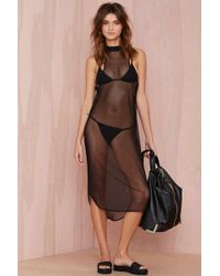 Nasty Gal Black Water Mesh Cover-up - Lyst
