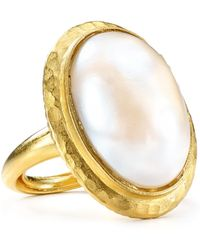 Kenneth Jay Lane - Oval Pearlybead Adjustable Ring - Lyst