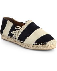 Chloé Striped Suede Espadrille Flats - Lyst