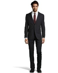 Hugo Boss Black Wool Two-button Suit with Flat Front Pants - Lyst
