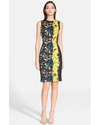 Versace Abstract Print Sleeveless Neoprene Dress blue - Lyst