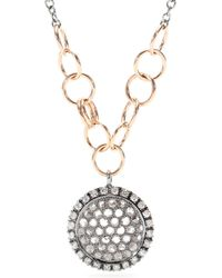 Roberto Marroni 18kt Oxidized Gold Necklace With Brown And White Diamonds - Metallic