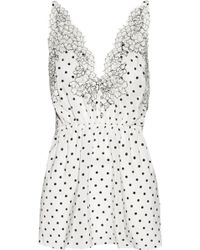 Rosamosario Chaplin'S Love Story Lace-Trimmed Printed Silk-Crepe Camisole - White