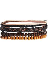 Asos Wooden Bracelet Pack with Leather - Lyst