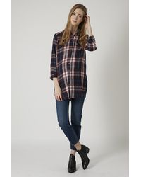Topshop Maternity Definitives Oversized Checked Shirt - Lyst