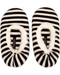 Henri Bendel Brown Stripe Slipper - Lyst