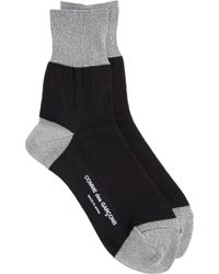 Comme des Garçons Black Socks with Silver Metallic Accents