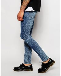 Cheap Monday Jeans Tight Skinny Fit Youth Blue Acid Knee Rip