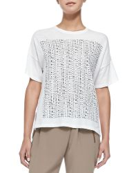 Vince Short-Sleeve Tee W/ Tribal-Print Square - Lyst